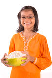 Malay Girl And Pomelo Fruit I Royalty Free Stock Images