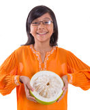 Malay Girl And Pomelo Fruit II Royalty Free Stock Photo