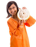 Malay Girl And Pomelo Fruit VIII Royalty Free Stock Photography