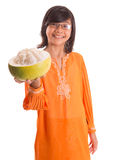 Malay Girl And Pomelo Fruit X Royalty Free Stock Photo