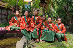 Malay girls with songket entire Stock Photography
