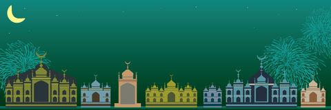 Malay Islam building bright green banner Royalty Free Stock Photo