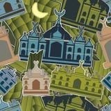 Malay islam modern sticker seamless pattern Royalty Free Stock Image