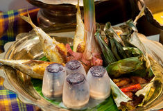 Malay Spicy Seafood Meal. Spicy Malay Style Seafood Meal with Barbeque Items royalty free stock photos