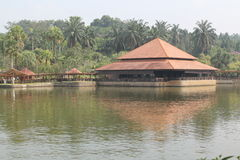 Malay style building on lake Royalty Free Stock Images