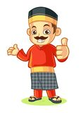 Malay Traditional Clothes Mascot Thumbs Up Stock Image