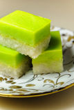 Malay Traditional Dessert - Seri Muka on a fancy plate Royalty Free Stock Images