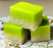 Malay Traditional Dessert - Seri Muka on a fancy plate Royalty Free Stock Image