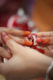 Malay traditional wedding. Akad nikah is the wedding vows. The meaning of marriage is the consent of the woman or her representative and guardian of the Royalty Free Stock Photo