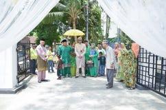 Malay wedding ceremony, Malaysia. Kuala Lumpur, Malaysia – March 22, 2014. Malay Wedding. One of the Malay wedding ceremony whereby a bridegroom with his Royalty Free Stock Photos