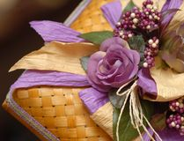 Malay Wedding Gift Box. With purple flower Stock Photo
