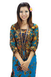 Malay woman. Portrait of a Malay woman on white background royalty free stock images
