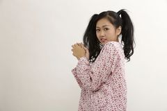 Malay woman. With baju kedah on the white background Stock Images