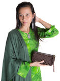 Malay Woman With A Brown Purse I Royalty Free Stock Photography