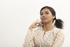 Malay woman. Portrait of malay woman with baju kedah Royalty Free Stock Images