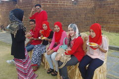 Malay women having lunch Royalty Free Stock Photo