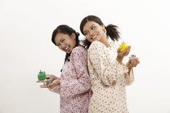 Malay women with pelita Royalty Free Stock Photography