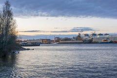 Malaya Neva. View of the shop shipyard. Twilight Stock Photography