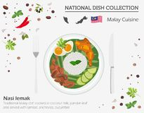Malayan Cuisine. Asian national dish collection. Nasi lemak iso. Lated on white, infograpic. Vector illustration royalty free illustration