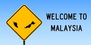 Malaysia översikt på vägmärke royaltyfri illustrationer