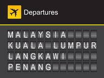 Malaysia-Abfahrt, Alphabetflughafen Malaysia-leichten Schlages, Kuala Lumpur, Penung, Langkawi Stockfotografie