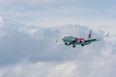 Malaysia airline airplane landing at Phuket airport Stock Photography