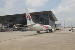 Malaysia Airlines B737 Na przyjazdzie przy KLIA Zdjęcia Royalty Free