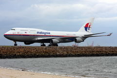 Malaysia Airlines Boeing 747 on the runway. Malaysia Airlines 747 taxiing on the runway.  Photo taken: 13 April 2009 Stock Photo
