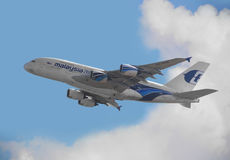 Malaysia Airlines A380 departure from Hong Kong Stock Photography