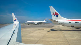 Malaysia Airlines-Flächen in Kuala Lumpur International Airport Lizenzfreies Stockbild