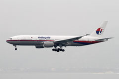 Malaysia Airlines manquant le jet de Boeing 777-200 Images stock