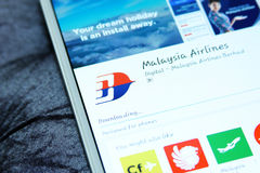 Malaysia airlines mobile app Royalty Free Stock Photography