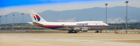 Malaysia Airlines's B747-400 at KLIA Royalty Free Stock Image
