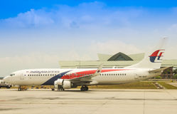 Malaysia Airlines's B737 at KLIA royalty free stock photos