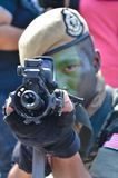 Malaysia Army during Independence Day celebration. Kuala Lumpur, Malaysia – August 30, 2013. An army pointing his rifle. Military show during Malaysia Stock Images
