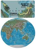 Malaysia and Asia Oceania map Royalty Free Stock Image