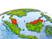 Malaysia auf Modell von Erde Lizenzfreies Stockfoto