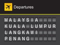 Malaysia avvikelse, flygplats för Malaysia flipalfabet, Kuala Lumpur, Penung, Langkawi royaltyfri illustrationer