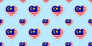 Malaysia background. Malaysian flag seamless pattern. Vector stickers.Love hearts symbols. Good choice for sports pages, travel, g royalty free illustration