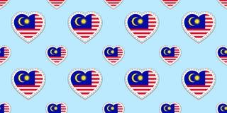 Malaysia bakgrund Sömlös modell för malaysisk flagga Vektorstikers Förälskelsehjärtasymboler Bra val för sportsidor, lopp, G royaltyfri illustrationer