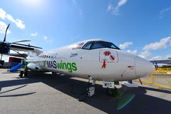Malaysia based MASwings ATR 72-500 turboprop aircraft on display at Singapore Airshow Royalty Free Stock Photos