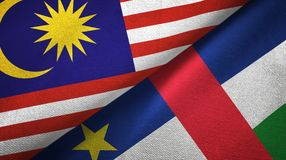 Malaysia and Central African Republic two flags textile fabric texture royalty free illustration