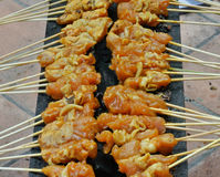 Malaysia Chicken Satay Cooking on a Hot Charcoal Grill Stock Photo