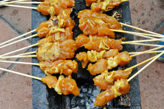 Malaysia Chicken Satay Cooking on a Hot Charcoal Grill Royalty Free Stock Photos