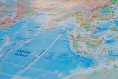 Malaysia in close up on the map. Focus on the name of country. Vignetting effect.  royalty free stock images