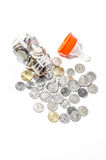 Malaysia Coins in Baby Bottle Royalty Free Stock Photography