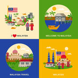 Malaysia Culture 4 Flat Icons Square Stock Photos