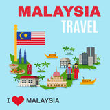 Malaysia Culture Travel Agency Flat Poster Royalty Free Stock Image