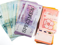 Malaysia currency coins and banknotes Stock Images