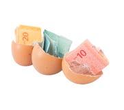 Malaysia Currency and Eggshells III Stock Photos
